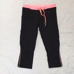 Lululemon Black/Pink Cropped Leggings Side Pockets Sz Can 6 AU 10
